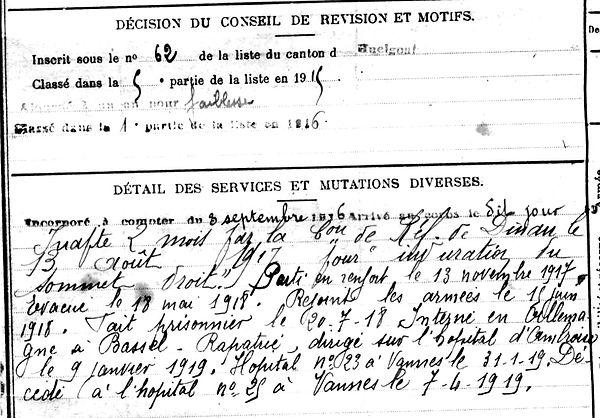 gueguen claude scrignac vannes prisonnier bassel ambroise 14-18 Finistère Non Mort France Réformé maladie tuberculose suicide fusillé accident