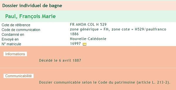 Paul François Marie Bagne Nouvelle Caléd