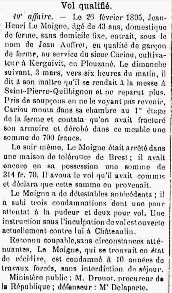 Le Moigne Jean Henri chateuneuf faou picous bagne guyane bagnard disparu maroni