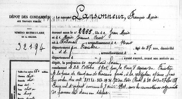 Lansonneur François Marie kerlouan coat finistee bagne guyane bagnard  evade evasion
