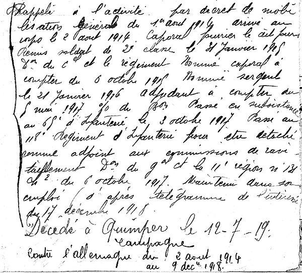 morin rene theodore brest quimper 14-18 Finistère Non Mort France Réformé maladie tuberculose suicide fusillé accident
