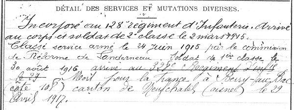 Riou Françis Olivier Landerneau Guerre 1914 1918 14-18 Finistère Finistérien Mort pour la France Berry au Bac cote 108 Sapigneul Choléra Moscou Mauchamp