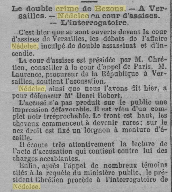 Nédélec Eugène Victor quimper crime bezons evade evasion bagne guyane bagnard finistere