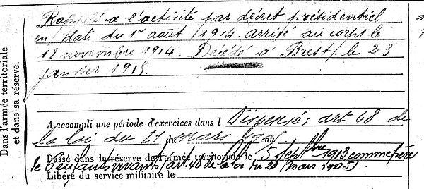 trebaol guillaume plabennec brest 14-18 Finistère Non Mort France Réformé maladie tuberculose suicide fusillé accident