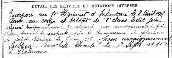 Abalain Louis Plabennec Guerre 1914 1918 14-18 Finistère Finistérien Non Mort pour la France Réformé maladie tuberculose suicide fusillé accident