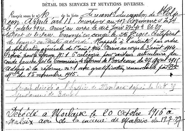 combot jean marie taule morlaix 14-18 Finistère Non Mort France Réformé maladie tuberculose suicide fusillé accident