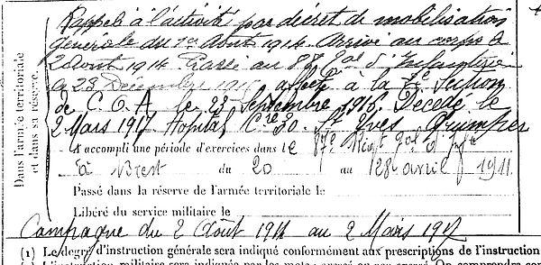 kerfourn jean plouider quimper 14-18 Finistère Non Mort France Réformé maladie tuberculose suicide fusillé accident