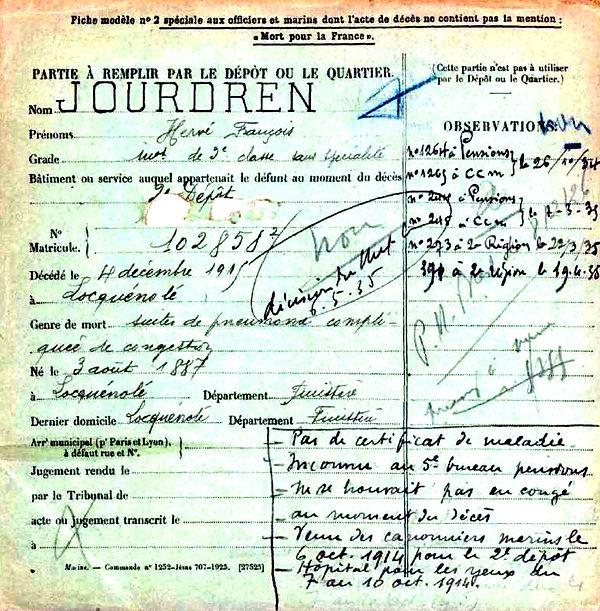 jourdren hervé françois locquenole canonnier marin 14-18 Finistère Non Mort France Réformé maladie tuberculose suicide fusillé accident