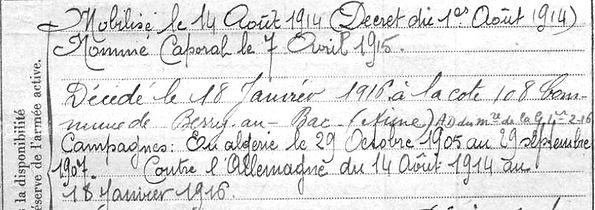 Keribin Jean Marie Malahon Guerre 1914 1918 14-18 Finistère Finistérien Mort pour la France Berry au Bac cote 108 Sapigneul Choléra Moscou Mauchamp