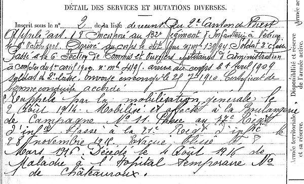 lucas guillaume bohars chateauroux 14-18 Finistère Non Mort France Réformé maladie tuberculose suicide fusillé accident