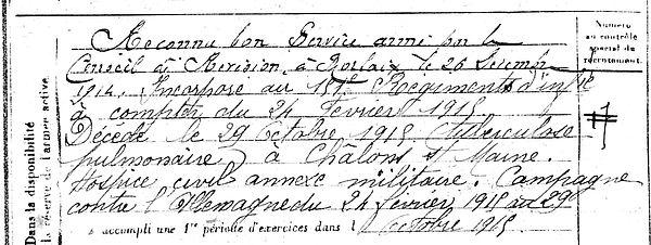 manach jean françois marie plouegat guerand chalon marne 14-18 Finistère Non Mort France Réformé maladie tuberculose suicide fusillé accident