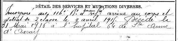 penargueard françois marie plouider sainte ne auray 14-18 Finistère Non Mort France Réformé maladie tuberculose suicide fusillé accident