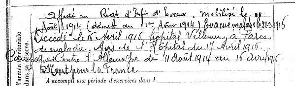 campuan yves cleden poher 14-18 Finistère Non Mort France Réformé maladie tuberculose suicide fusillé accident