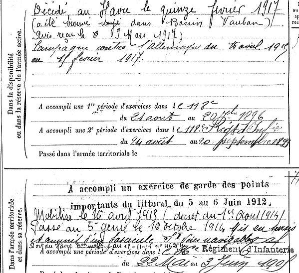 bodere sebastien combrit le havre vauban 14-18 Finistère Non Mort France Réformé maladie tuberculose suicide fusillé accident