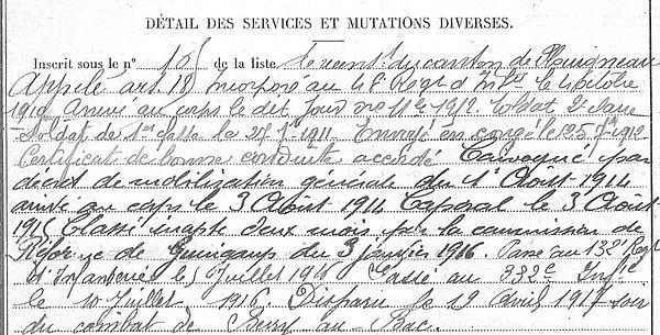 Roux Theophile Hervé Marie Lanneanou Guerre 1914 1918 14-18 Finistère Finistérien Mort pour la France Berry au Bac cote 108 Sapigneul Choléra Moscou Mauchamp
