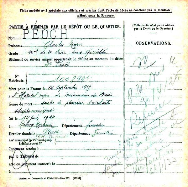 peoch charles marie relecq kerhuon brest 14-18 Finistère Non Mort France Réformé maladie tuberculose suicide fusillé accident