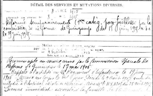 quemener pierre françois ployé morlaix 14-18 Finistère Non Mort France Réformé maladie tuberculose suicide fusillé accident
