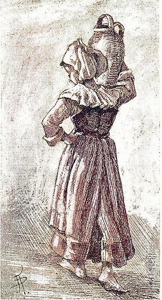 Dessin d'une Fouesnantaise portant une c