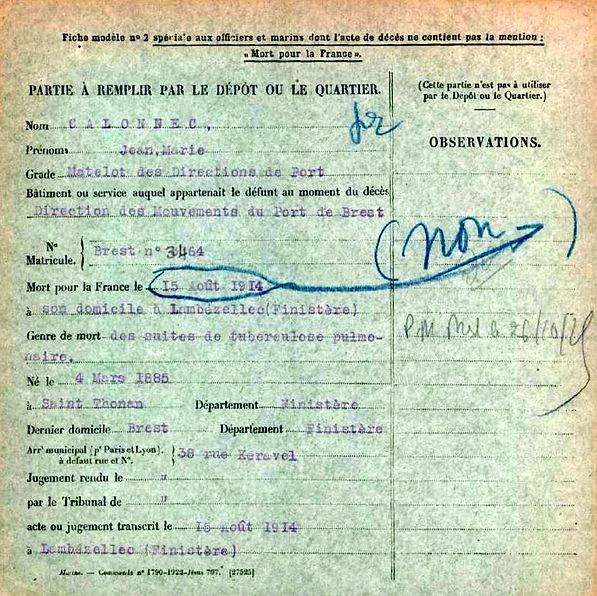 calonnec jean marie direction port brest lambezellec 14-18 Finistère Non Mort France Réformé maladie tuberculose suicide fusillé accident