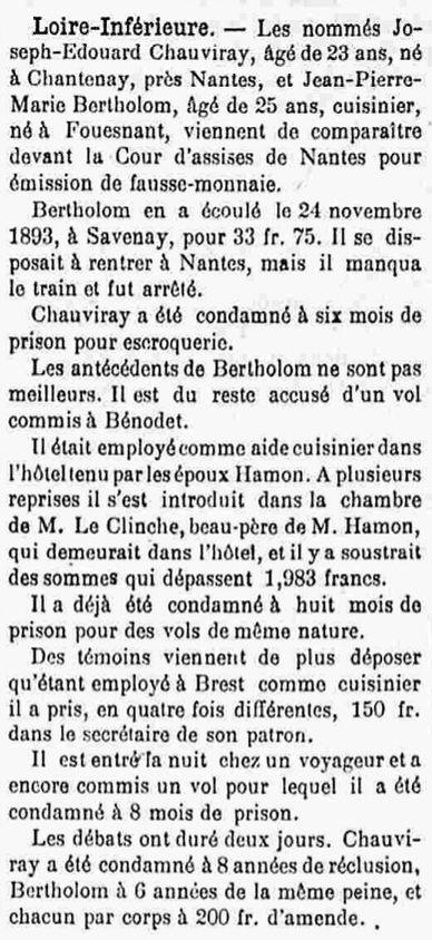 Bertholom Jean Pierre Marie fouesnant taladrun bagne guyane bagnard finistere