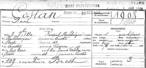 Cosian René Cozian Lampaul ploudalmezeau patrick milan anne apprioual guerre 1914 1917 14 18 patrimoine histoire plouguin finistere saint pabu