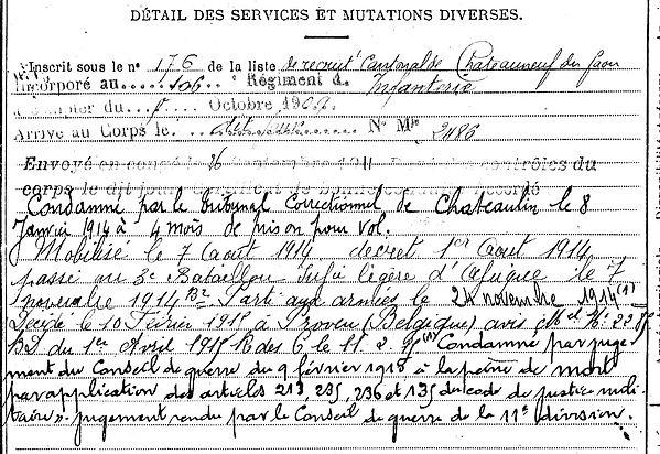 goanach yves chateauneuf du faou ypres proven belgique condame mort 14-18 Finistère Non Mort France Réformé maladie tuberculose suicide fusillé accident