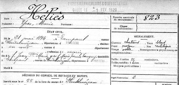 Héliès Yves Marie Lampaul ploudalmezeau patrick milan anne apprioual guerre 1914 1917 14 18 patrimoine histoire plouguin finistere