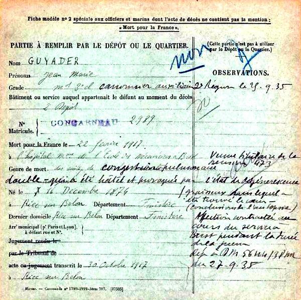 guyader jean marie riec belon brest 14-18 Finistère Non Mort France Réformé maladie tuberculose suicide fusillé accident