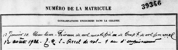 Derrien Sylvestre Pierre le du baye kernevel trevoux bagne guyane cutulic bagnard