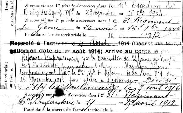 quesseveur françois issy les moulinaux 14-18 Finistère Non Mort France Réformé maladie tuberculose suicide fusillé accident