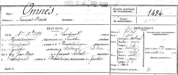 Omnès françois marie ploudalmezeau patrick milan anne apprioual guerre 1914 1917 14 18 patrimoine histoire plouguin finistere saint pabu