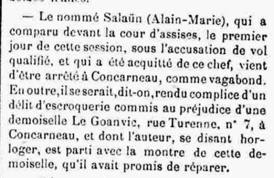 Salaun Alain Marie pluguffan berrelou bagne guyane bagnard