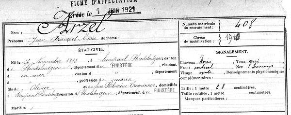 Arzel Jean François Marie Lampaul ploudalmezeau patrick milan anne appriou guerre 1914 1917 14 18 patrimoine histoire plouguin finistere