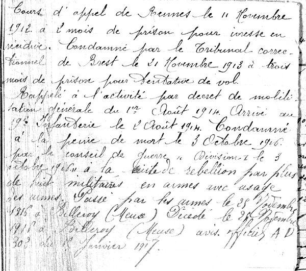 Autret pierre arsene marie fusillié passé armes peine de mort Guerre 14-18 Finistère Non Mort France Réformé maladie tuberculose suicide fusillé accident