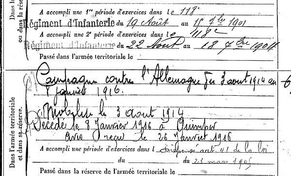 abbé gourmelin pierre marie pont labbe quimper 14-18 Finistère Non Mort France Réformé maladie tuberculose suicide fusillé accident