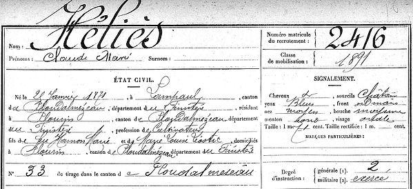 Héliès Claude Marie Lampaul ploudalmezeau patrick milan anne apprioual guerre 1914 1917 14 18 patrimoine histoire plouguin finistere