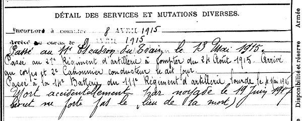 le doeuf jean marie chemin marne 14-18 Finistère Non Mort France Réformé maladie tuberculose suicide fusillé accident