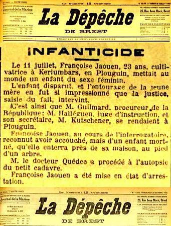 suppression enfant jaouen ploudalmezeau saint pabu plouguin patrimoine histoire noiresinfanticide lettre anonyme