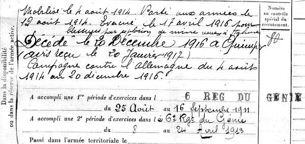 cariou jean marie plogonnec tahure quimper 14-18 Finistère Non Mort France Réformé maladie tuberculose suicide fusillé accident