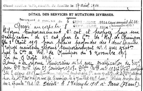 porhiel henri françois chateau neuf du faou laennec paris 14-18 Finistère Non Mort France Réformé maladie tuberculose suicide fusillé accident
