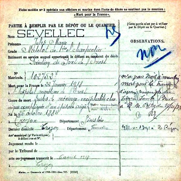 sevellec jules marie crozon brest 14-18 Finistère Non Mort France Réformé maladie tuberculose suicide fusillé accident