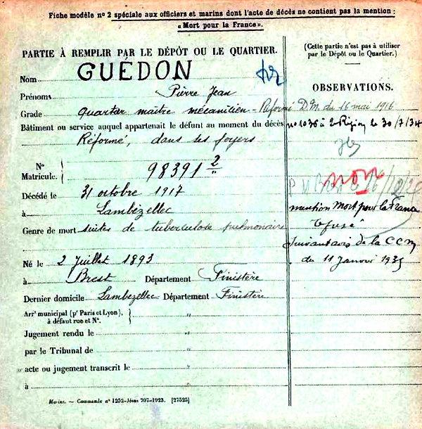 guedon pierre jean brest brest lambezellec 14-18 Finistère Non Mort France Réformé maladie tuberculose suicide fusillé accident