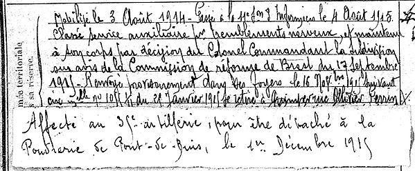 coln jean guillaume pont croix quimper pont buis 14-18 Finistère Non Mort France Réformé maladie tuberculose suicide fusillé accident
