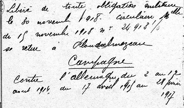 Jaouen Jean Lampaul ploudalmezeau patrick milan anne appriou guerre 1914 1917 14 18 patrimoine histoire plouguin finistere