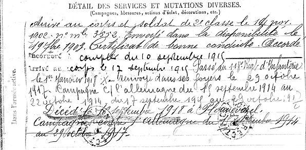 cotton jean marie carhaix plounevezel 14-18 Finistère Non Mort France Réformé maladie tuberculose suicide fusillé accident