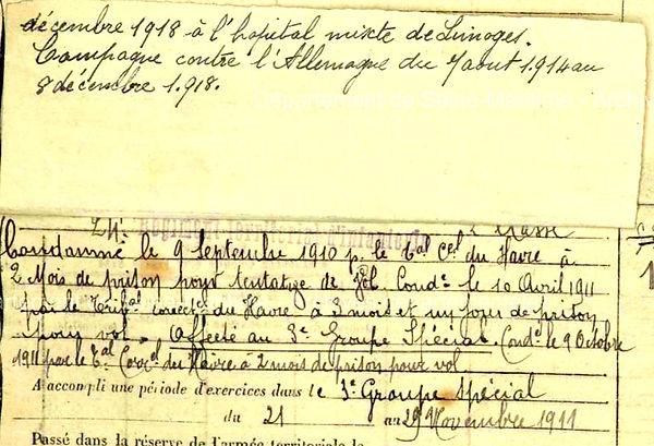 le roy jean marie lanneanou limoges 14-18 Finistère Non Mort France Réformé maladie tuberculose suicide fusillé accident