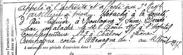 guyader françois mari roscoff chalon saoneair liquide boulogne 14-18 Finistère Non Mort France Réformé maladie tuberculose suicide fusillé accident