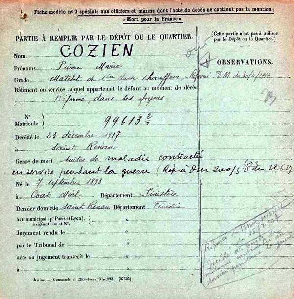 cozien pierre marie coatmeal saint renan 14-18 Finistère Non Mort France Réformé maladie tuberculose suicide fusillé accident