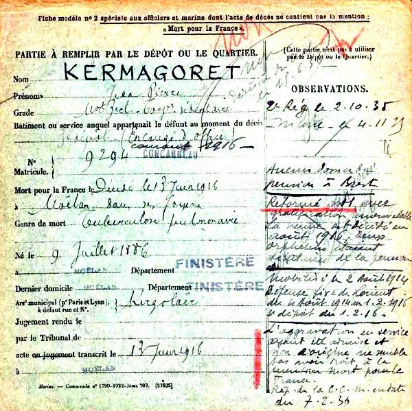 kermagoret jean pierre moelan lorient 14-18 Finistère Non Mort France Réformé maladie tuberculose suicide fusillé accident