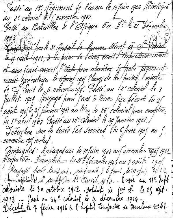 toueloc yves plouneventer madagascar saint louis senegal cochinchine morlaix 14-18 Finistère Non Mort France Réformé maladie tuberculose suicide fusillé accident